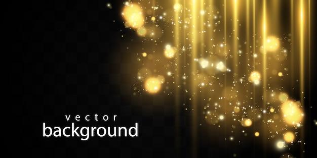 Funken und goldene sterne glitzern als besonderer lichteffekt. funkelt auf transparentem hintergrund.