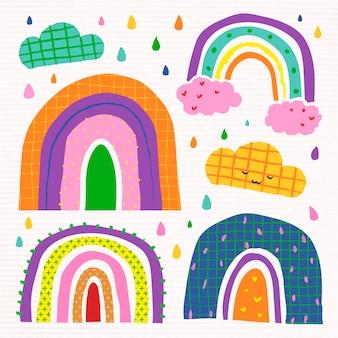 Funky regenbogen im doodle-stil-vektor-set