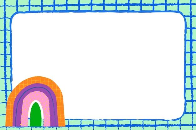 Funky regenbogenrahmen, gekritzelgrenze-designvektor
