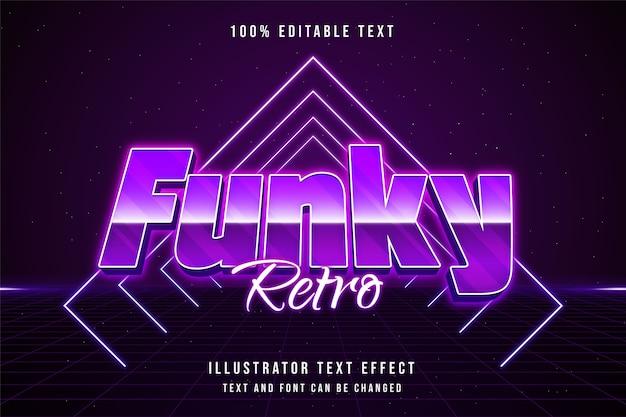 Funky retro, 3d bearbeitbarer texteffekt rosa abstufung lila neon textstil