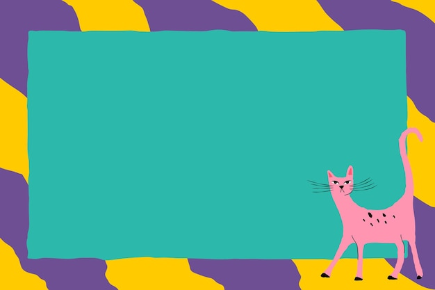 Funky tierillustration des rosa katzenrahmenvektors