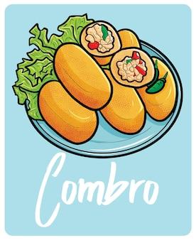Funny combro ein traditioneller snack aus indonesien im cartoon-stil