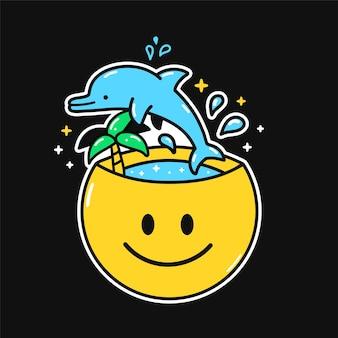 Funnyhappy lächelngesicht mit sprungdelfin, palme, meer nach innen. vektor handgezeichnete doodle 90er jahre cartoon charakter illustration. positives lächeln gesicht, gute laune, urlaub, meer, delphin, glücklicher geist konzept