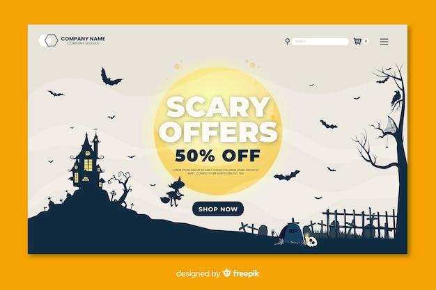 Furchterregende angebote der flachen halloween-landingpage in einer vollmondnacht