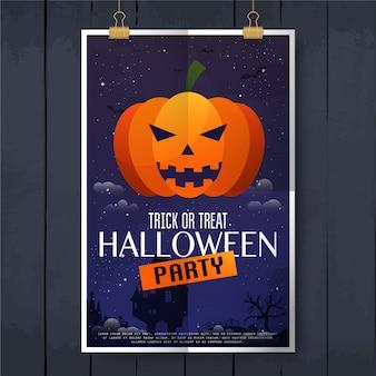 Furchterregender jack o lantern halloween kürbis auf nachthintergrundplakat. fröhliches halloween. illustration.