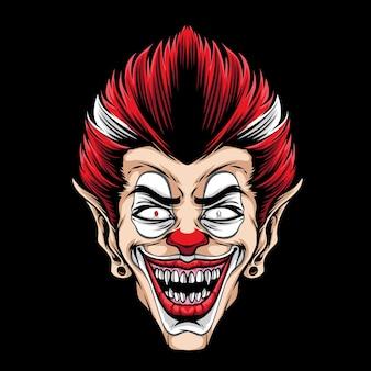 Furchterregendes clownkopf-maskottchen