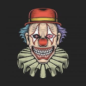 Furchtsame clown-vektorillustration der handzeichnungsweinlese