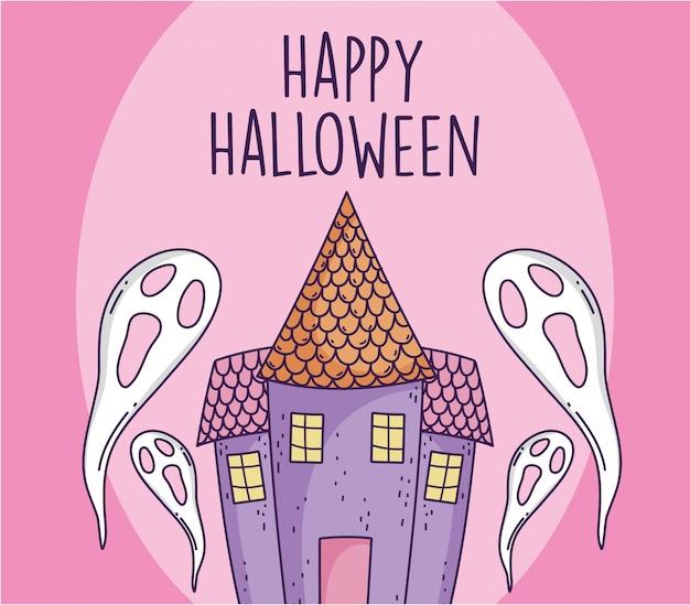 Furchtsame geister und schloss der glücklichen halloween-feier