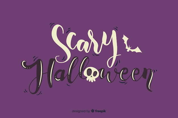 Furchtsame halloween-beschriftung mit dem schädel