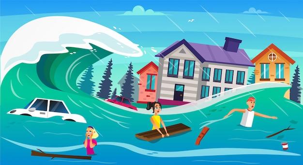 Furchtsame karikatur-leute-wasser-überlauf-tsunami-welle