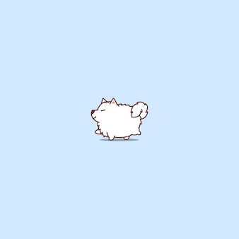 Furchtsame karikaturikone des netten fetten samoyedhundes
