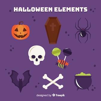 Furchtsame tiere und schlechte sachen stellten für halloween ein