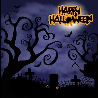 Furchtsamer alter friedhof für halloween