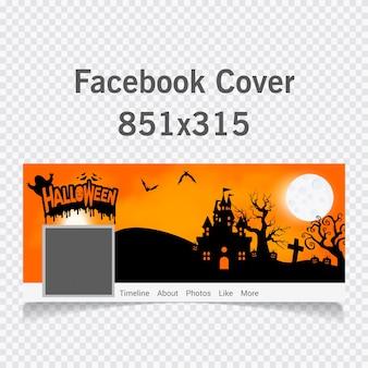 Furchtsamer friedhof und bauernhaus im wald mit halloween text cover