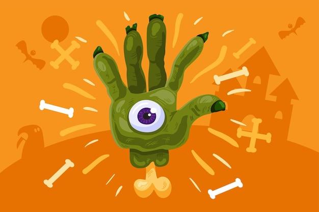 Furchtsamer halloween-hintergrund mit grüner zombiehand und auge über knochen und schattenbildschloss. gruseliges urlaubsplakat oder bannerdesign. vektor-illustration