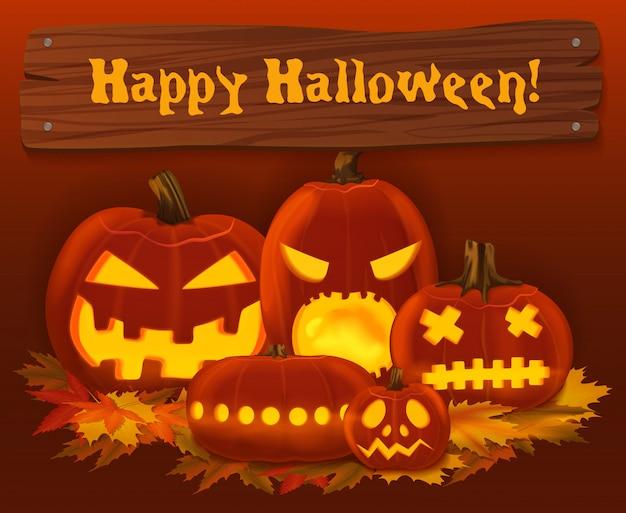 Furchtsamer kürbishintergrund halloweens