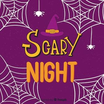 Furchtsamer nachtbeschriftungshintergrund mit spinnennetz