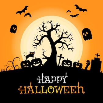 Furchtsames halloween-schattenbildrahmen-karikaturhintergrundplakat