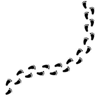 Fußabdruck der bloßen schritte einer mannikone. vektor auf weißem hintergrund isoliert. eps 10.