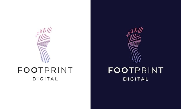Fußabdruck digitales logo icon design template flache vektorillustration