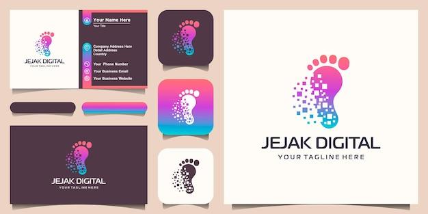Fußabdruck-identifikationslogo modernes technologiegeschäft, einfaches minimalistisches icon-design.