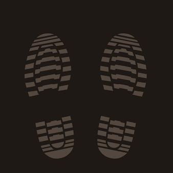Fußabdrücke silhouette auf dunkel