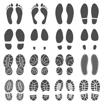 Fußabdrücke silhouetten.