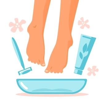 Fußbad in schüssel mit blume, creme, hornhautentferner zu hause. pflegekonzept für die beine. behandlung von füßen und nägeln. flache vektorgrafik. kosmetisches verfahren für frauen.