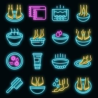 Fußbad-symbole gesetzt. umrisse von fußbad-vektorsymbolen neonfarbe auf schwarz