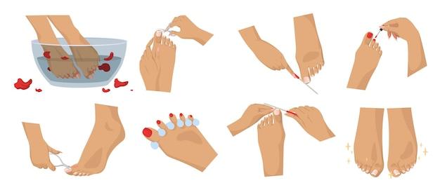 Fußbad und pediküre-set, flache vektorgrafik isoliert. kosmetische behandlung von füßen und zehennägeln. fußpflege. nagelstudio, spa und schönheitssalon.