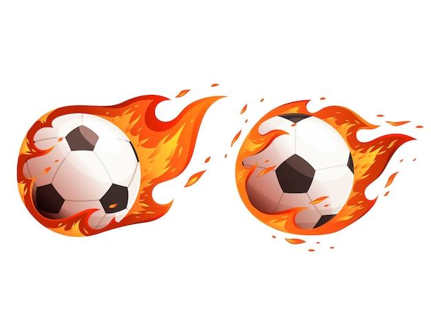 Fußbälle in flammen. design für ein fußballspiel. auf einem weißen hintergrund isoliert.