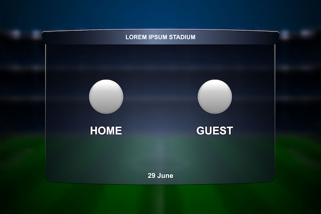 Fußball-anzeigetafel ausgestrahlt.