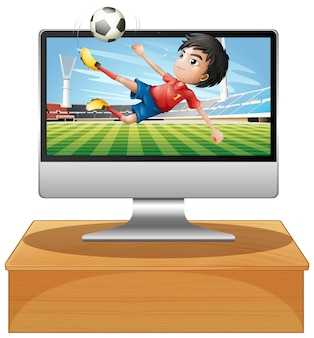 Fußball auf dem computer-desktop-bildschirm