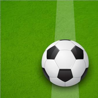 Fußball auf dem spielfeld. hintergrund.