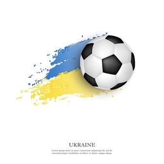 Fußball auf ukrainischer flagge.