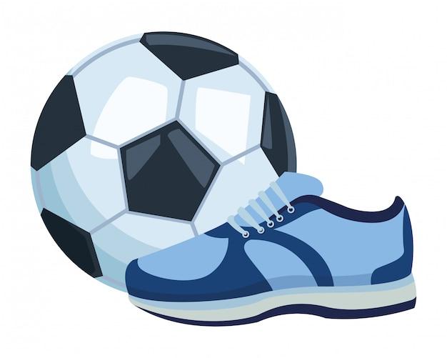 Fußball ballon und sneaker-symbol
