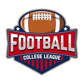 Fußball college liga. emblemschablone mit fußball. rugby. gestaltungselement für logo, etikett, design.