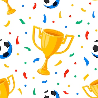 Fußball cup bälle und konfetti nahtloses muster