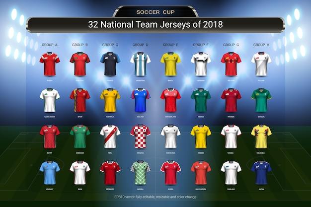 Fußball-cup-gruppensatz der weltmeisterschaft 2018