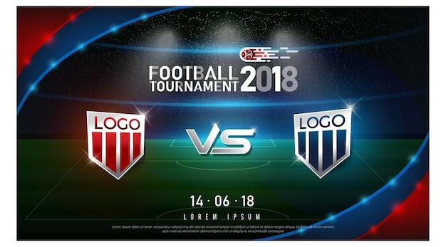 Fußball-cupflagge und -stadionshintergrund der weltmeisterschaft 2018
