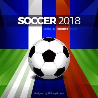 Fußball-cuphintergrund des fußballs 2018 in der flachen art