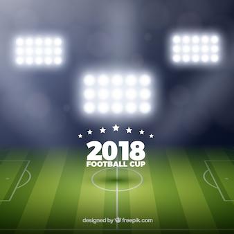 Fußball-cuphintergrund des fußballs 2018 in der realistischen art