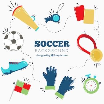 Fußball-cuphintergrund des fußballs 2018 mit elementen