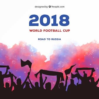 Fußball-Cuphintergrund des Fußballs 2018 mit Menge