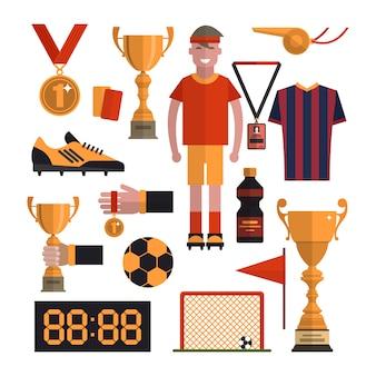 Fußball-elementsatz. fußball lokalisierte gestaltungselemente in der flachen art. spieler, stiefel, ball, uniform, pokal, tore.