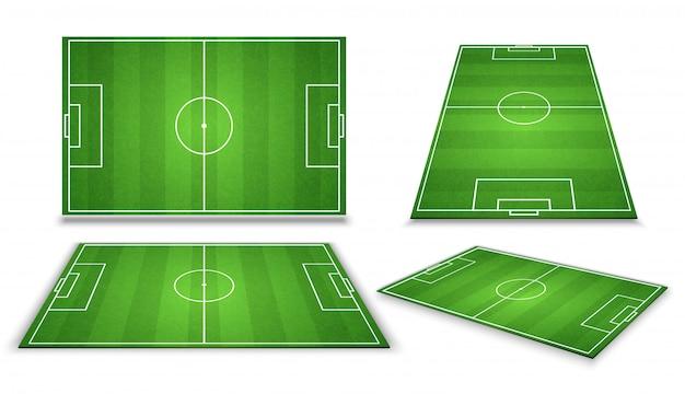 Fußball, europäischer fußballplatz in der unterschiedlichen perspektiveansicht. isolierte vektorabbildung