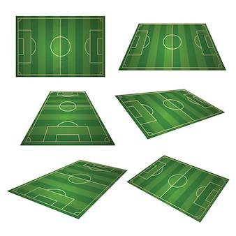 Fußball, europäischer grüner fußballplatz im unterschiedlichen gesichtspunkt der perspektivenansicht. fußballgrünfeld für sportspiel