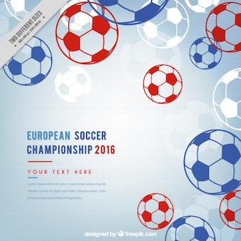 Fußball-europameisterschaft mit hand gezeichneten kugeln