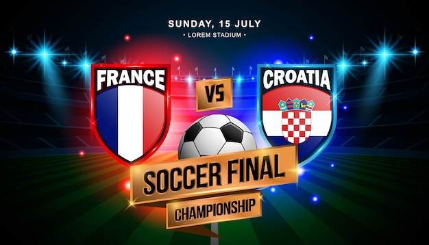 Fussball finale zwischen frankreich und kroatien