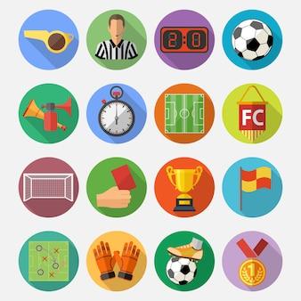 Fußball flache icon set
